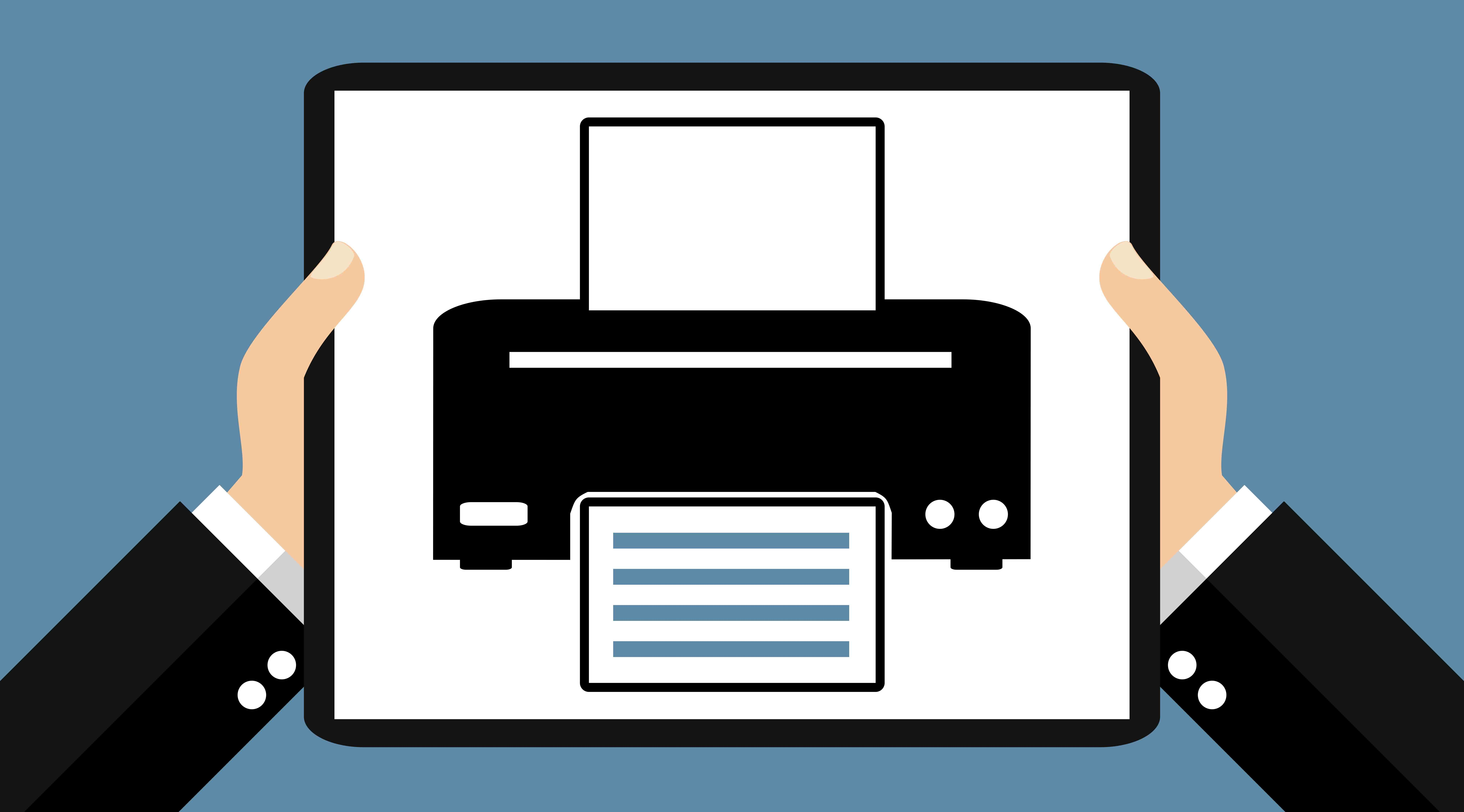 Zwei Hände halten Tablet: Drucker - Flat Design